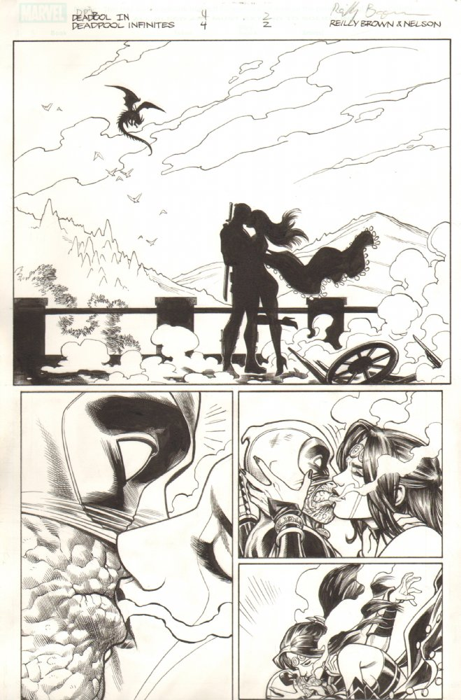Deadpool and Shiklah's first kiss– aw, how romantic!   This is the original art board for this scene as I drew it before setting it up for the digital comic.  It's interesting to compare this to the final version. And for those interested, this page, and a lot more from the series, are for sale at my art dealer's site,  Anthony's Comic Book Art .