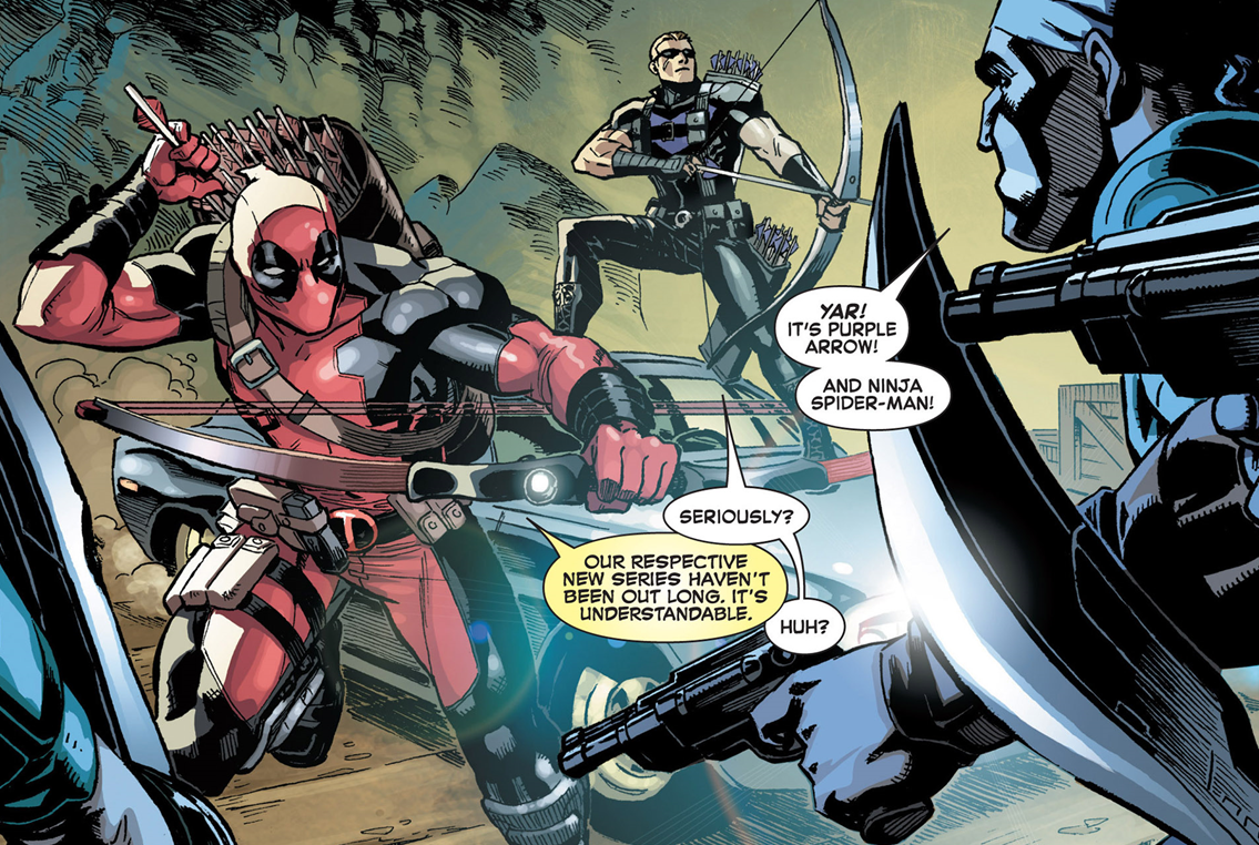 "why-i-love-comics :      A+X #8 - ""Hawkeye + Deadpool""      written by Christopher Hastings art by Reilly Brown"