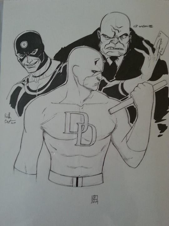 Here's a Daredevil jam piece from Motor City Comic Con.  Fun collaboration between Khoi Pham, C.P. Wilson III, and myself.