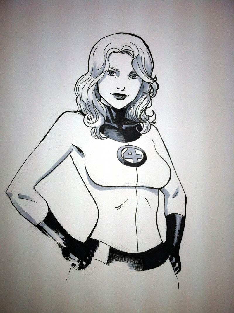 Here's a sketch of Sue Storm from the Fantastic Four.