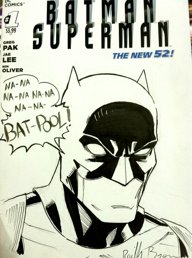 Bat-Pool.  That pretty much says it all right there. On a Batman/Superman sketch cover.