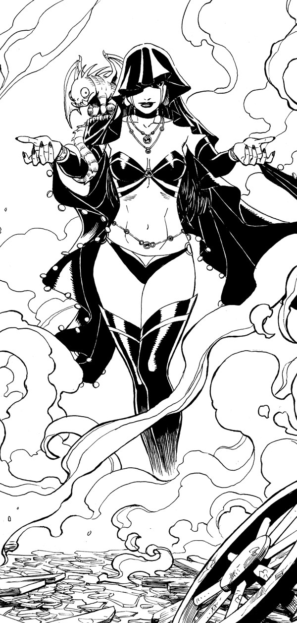 The very first image I drew of Deadpool's new wife, Shiklah.  The original art for this page and others from The Gauntlet are available at Anthony Snider's Comic Art.