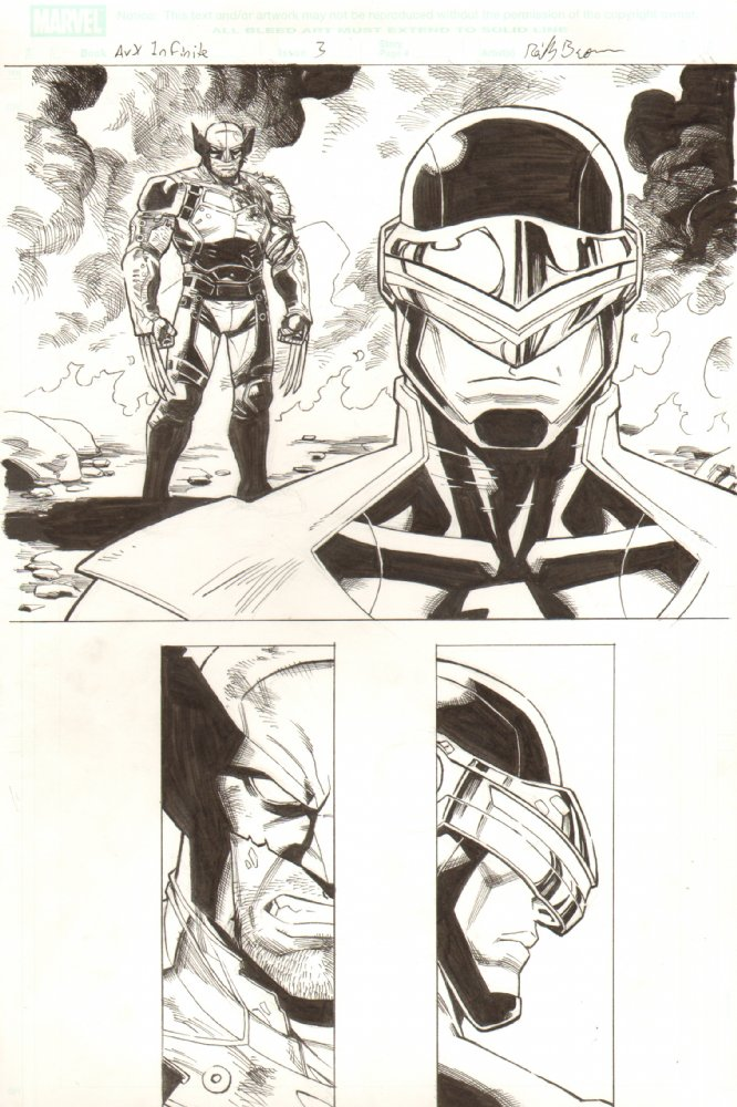 Here's an original page of Wolverine and Phoenix Cyclops squaring off from AvX Infinite #3.  I've got the original art for sale at my dealer Anthony Snider's site here–  http://www.anthonyscomicbookart.com/ArtistGalleryRoom.asp?ArtistId=1172