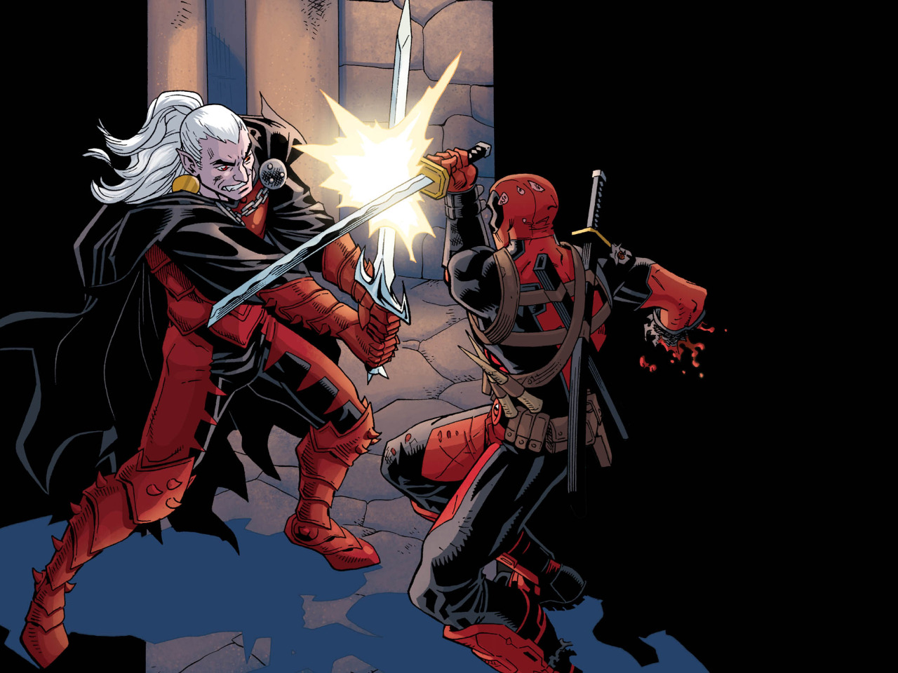Deadpool vs Dracula.  It all comes down to this!   It's lucky chapter 13 of  Deadpool: The Gauntlet , and it's a perfect jumping on point, because it's, like, all the cool climactic stuff but without any of that annoying  back story , or  character development  crap that we wasted time on in the previous chapters.  Also the perfect jumping off point, seeing as how it's the final chapter.    So, basically, if you've been waiting in the wings for the best opportunity to read  exactly one  issue of Deadpool: The Gauntlet… Now's your time to shine.