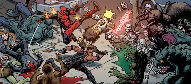 "Deadpool and Blade settling their differences with some gentlemen from the nether realm.   (Tee hee ""nether realm"")  This is from Deadpool: The Gauntlet #12, on sale today!"