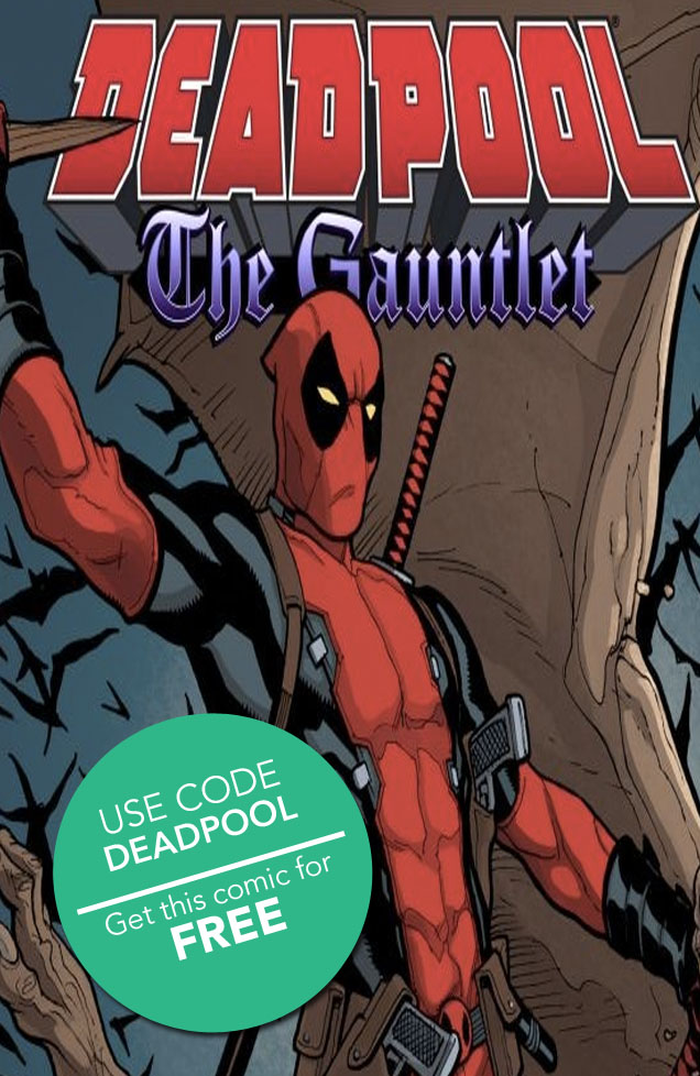 comixology :     If you haven't been reading the Deadpool Infinite comic by  gerryduggan , Brian Posehn, and  reillybrown , you've been really missing out! Time to fix that mistake by picking up  Deadpool: The Gauntlet #1  for FREE when you use the code  DEADPOOL  on  the redeem page !     See all the free comics we've given away so far!       Follow our liveblog of the events at the Geek Stage!       And make sure to follow us for way more FREE COMICS this weekend!       Spread the word!