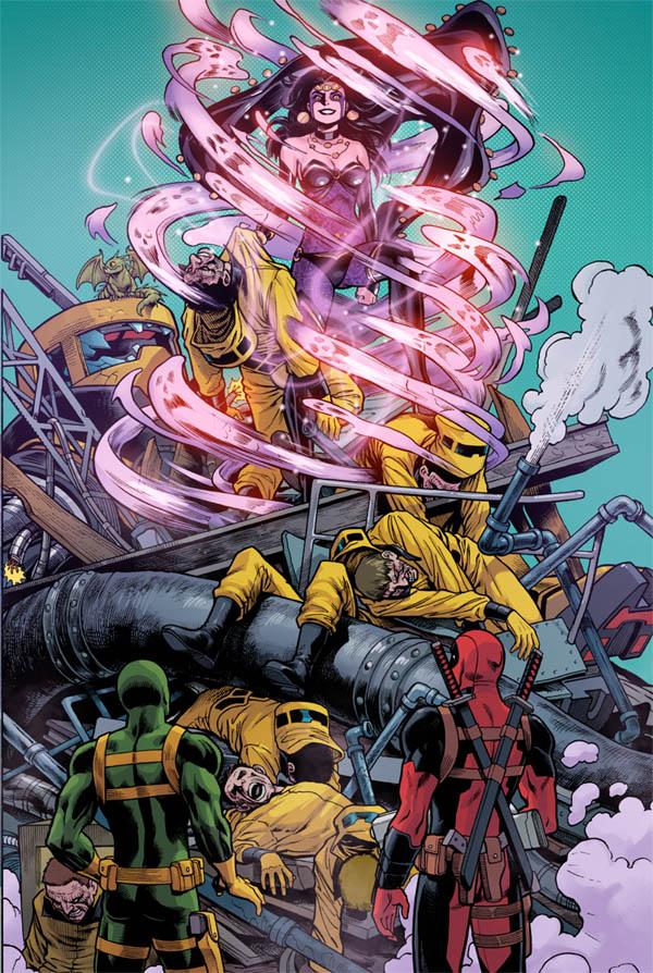 Deadpool, Bob, and Shiklah. This is a sneak peek at Deadpool: The Gauntlet #7, on sale tomorrow!