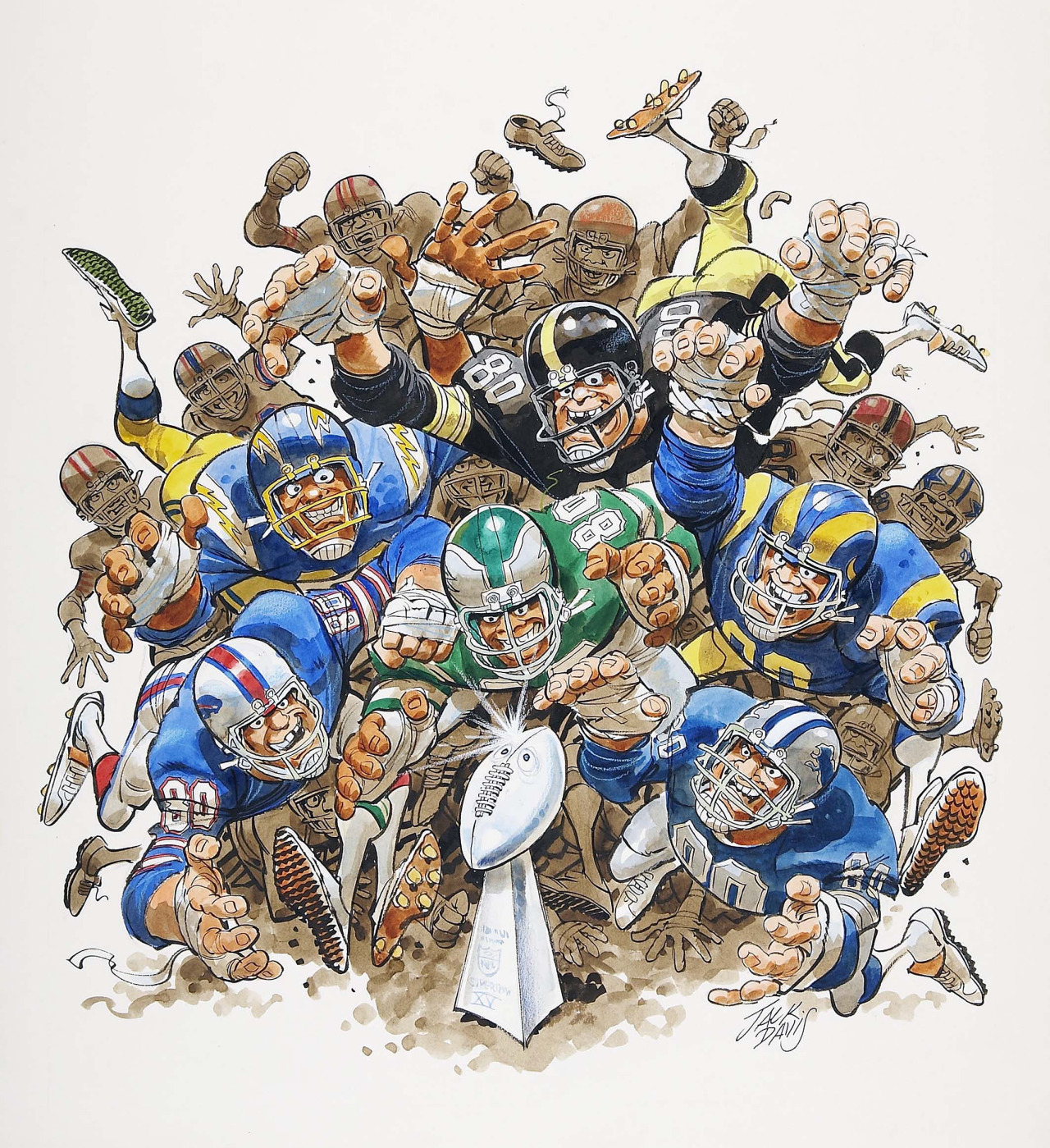 "thebristolboard: ""The Battle for the Lombardi Trophy,"" a Superbowl illustration by Jack Davis, printed by NFL Properties, 1980."
