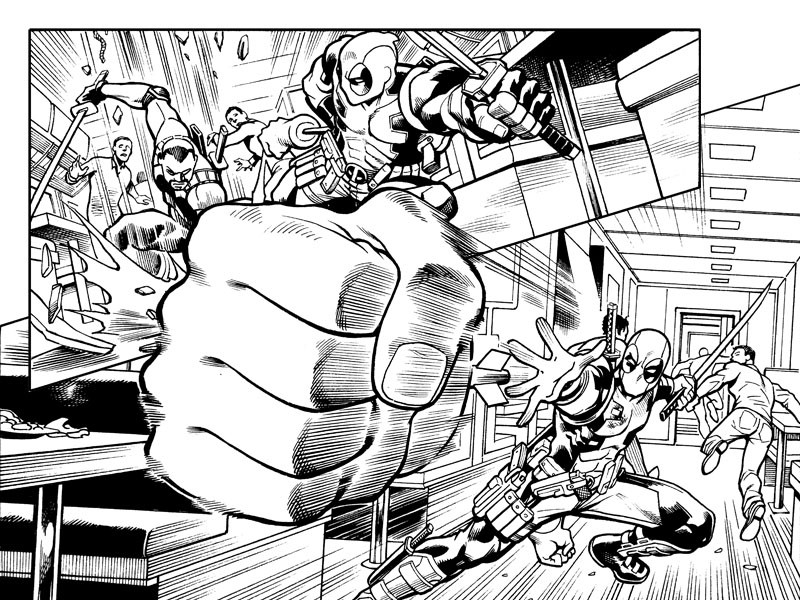 The Hulk Hands make a comeback! Heh heh, thinking of you drhastings ! This is from the next chapter of Deadpool: The Gauntlet, on sale next week!