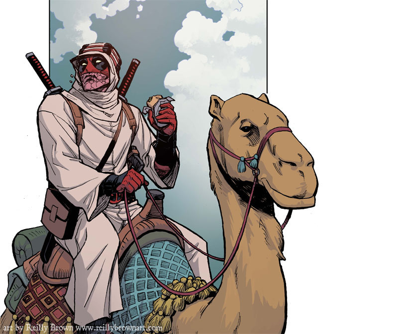 That's all you really need in life.  This is a sneak peek at DEADPOOL: THE GAUNTLET #2, on sale next week on Comxiology.  If you enjoy camels, burritos, or Deadpools, this is probably the one you've been looking for.  If you don't like those things,well, I don't know what to tell you, but I think you're probably missing out in life, and that makes me sad. So grab life by the round and wrinklies, and start off with episode 1 of THE GAUNTLET here– http://www.comixology.com/Deadpool-The-Gauntlet-Infinite-Comic-1/digital-comic/58213?utm_campaign=rss&utm_term=iphone%252B58213 and then be back next week for some Deadpool of Arabia action!
