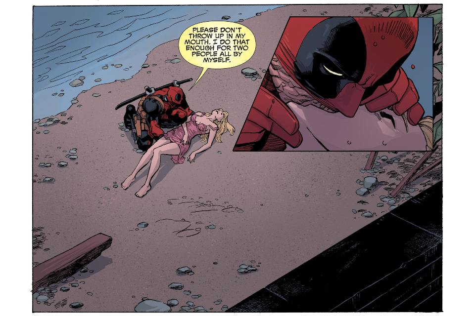 """Please don't throw up in my mouth.""  Deadpool knows how to smooth-talk the ladies. From DEADPOOL: THE GAUNTLET– a new weekly digital comic by Gerry Duggan, Brian Posehn, and drawn by Reilly Brown, with colors by Jim Charalampidis."