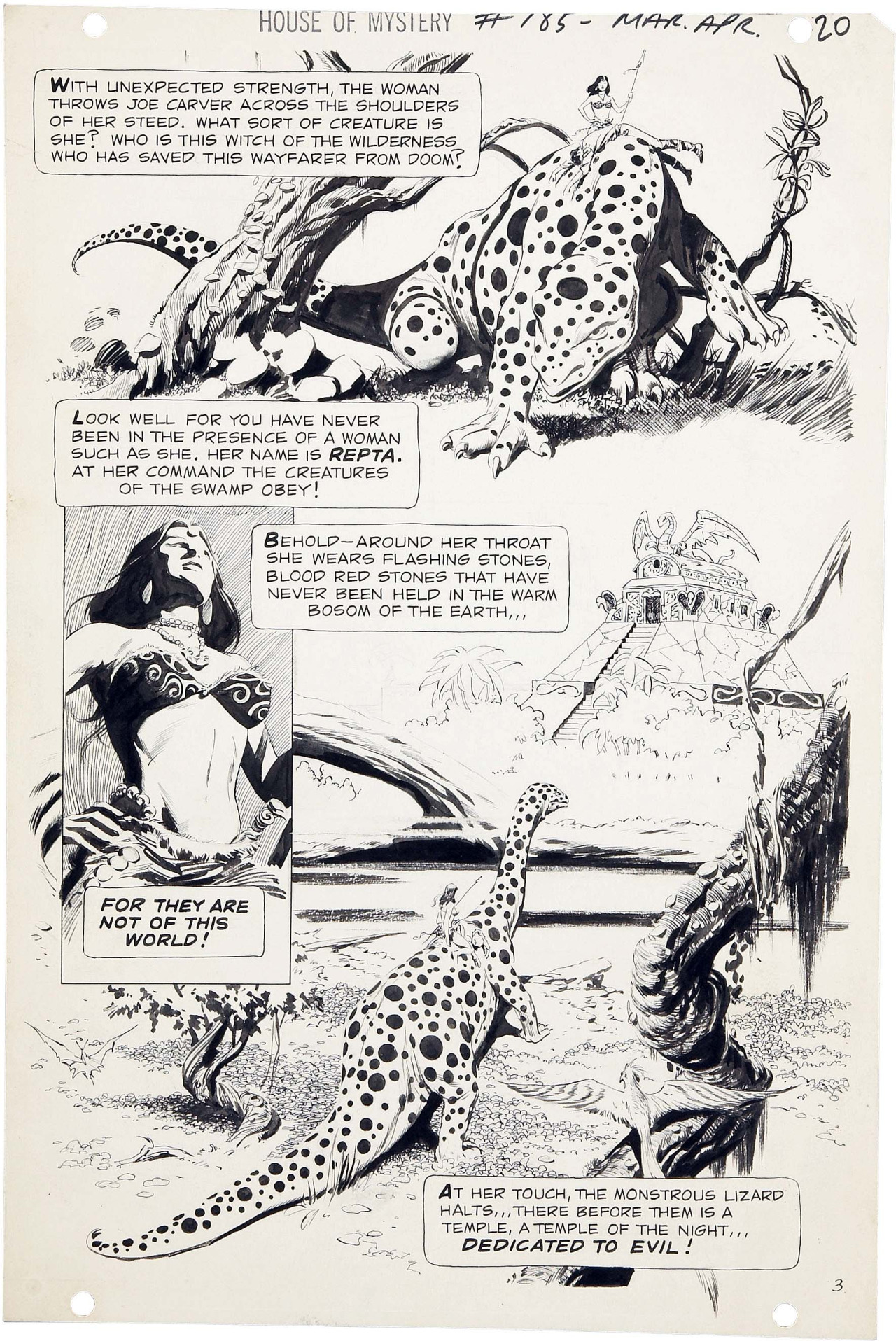 "Quite simply, Al Williamson was the best. thebristolboard: Original page by Al Williamson (with assists by Michael Kaluta) from the story ""The Beautiful Beast"" in House of Mystery #185, published by DC Comics, March 1970."