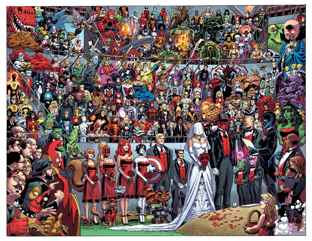 Awesome pic of Deadpool's upcoming wedding by Scott Koblish!  Hmmm, wonder who the special lady could be?  Perhaps there's a clue in our new Deadpool Infinite series.  What's that?  I didn't say anything…