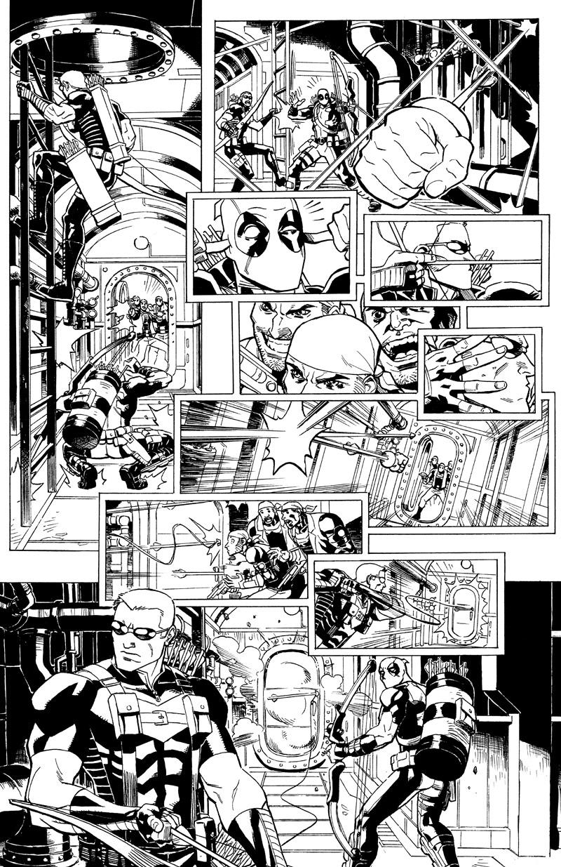Some more artwork from A+X featuring Deadpool and Hawkeye.  Available at Anthongy Snider's Comic Art– http://www.anthonyscomicbookart.com/ArtistGalleryRoom.asp?ArtistId=1172