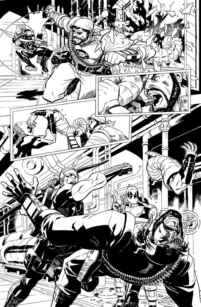 Here's a page of me and  drhastings  A+X story from earlier this year, featuring Deadpool and Hawkeye.  You can check out the original art on sale at  Anthony Snider's Comic Art –  http://www.anthonyscomicbookart.com/ArtistGalleryRoom.asp?ArtistId=1172