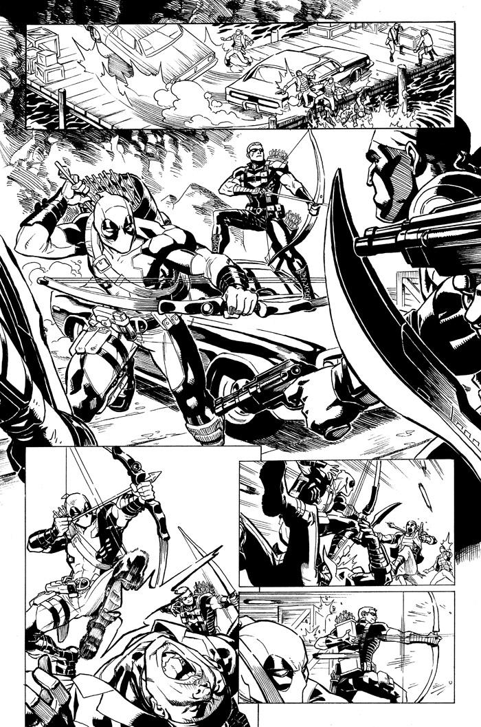 A lot of people have been bugging me about when I plan on selling those pages from the Deadpool/Hawkeye team-up I did earlier this year– well good news!  I finally got organized enough to get them up on my gallery at  Anthony Snider 's site.  Check em out!   http://www.anthonyscomicbookart.com/ArtistGalleryRoom.asp?ArtistId=1172