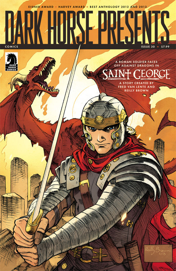 hypotheticalisland :     Just so all you guys don't forget,  Dark Horse #30  is coming out tomorrow! What makes this noteworthy is that  Saint George  written by  Fred Van Lente  and drawn by Hypothetical Island resident  Reilly Brown  is featured in it! Make sure to pick it up at your local comic shop!