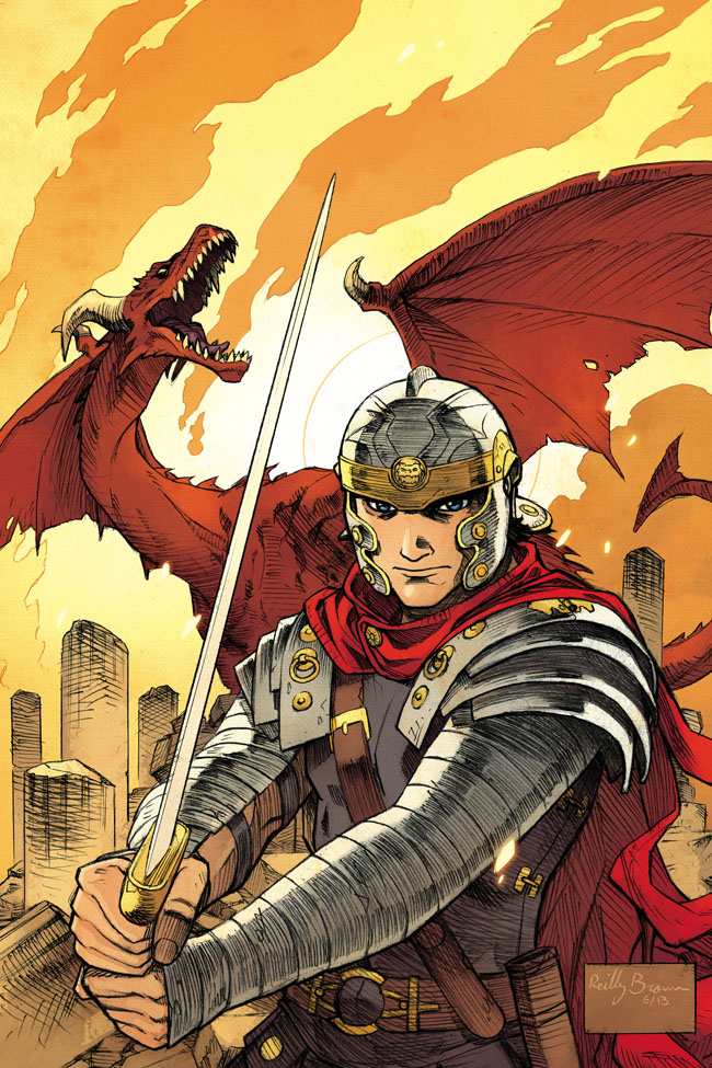 "Here's the cover to  Dark Horse Presents #30 , featuring SAINT GEORGE by me and @FredVanLente and colored by @whoaJordie .  This issue's got the first chapter of our story about the famous dragon slayer which mixes history with legend.       And be sure to follow @FredVanLente 's #DragonFacts on Twitter– Awesome stuff!    Here's what the  solicitation  says–   Eisner and Harvey Award Winner!    Dark Horse Presents #30    Fred Van Lente(W), Jamie S. Rich(W), David Lapham(W/A), Mike Baron(W), Caitlín R. Kiernan(W), Michael T. Gilbert(W/A), Chad Lambert(W), Steve Horton(W), Stan Sakai(W/A), Phil Stanford(W), Reilly Brown(A/Cover), Brent Schoonover(A), Steve Rude (A), Steve Lieber(A), TomWilliams (A), Ryan Cody (A), Patric Reynolds(A),and Jordie Bellaire(Cover)   On sale Nov 20  FC, 80 pages  $7.99  Ongoing   Fred Van Lente and Reilly Brown tell the epic tale of Saint George . . . the dragon slayer! Sixties sci-fi meets a hard-boiled detective mystery in Jamie S. Rich and Brent Schoonover's  Integer City ! Stan Sakai does action adventure with the return of Nilson Groundthumper! Phil Stanford's  City of Roses  returns! The writer of  Amala's Blade , Steve Horton, introduces  Monstrous  with Ryan Cody! And a unique time-travel story from Chad Lambert and Tom Williams!   Plus, new installments of  The Strain: The Fall ,  Mr. Monster ,and  Alabaster !   Featuring a story from the world of Guillermo del Toro and Chuck Hogan's  The Strain: The Fall !   ""Dark Horse's prestigious anthology series … showcases emerging talent alongside some of the greatest writers, artists and cartoonists."" — Comics Alliance      FIVE NEW STORIES BEGIN IN THIS ISSUE!"