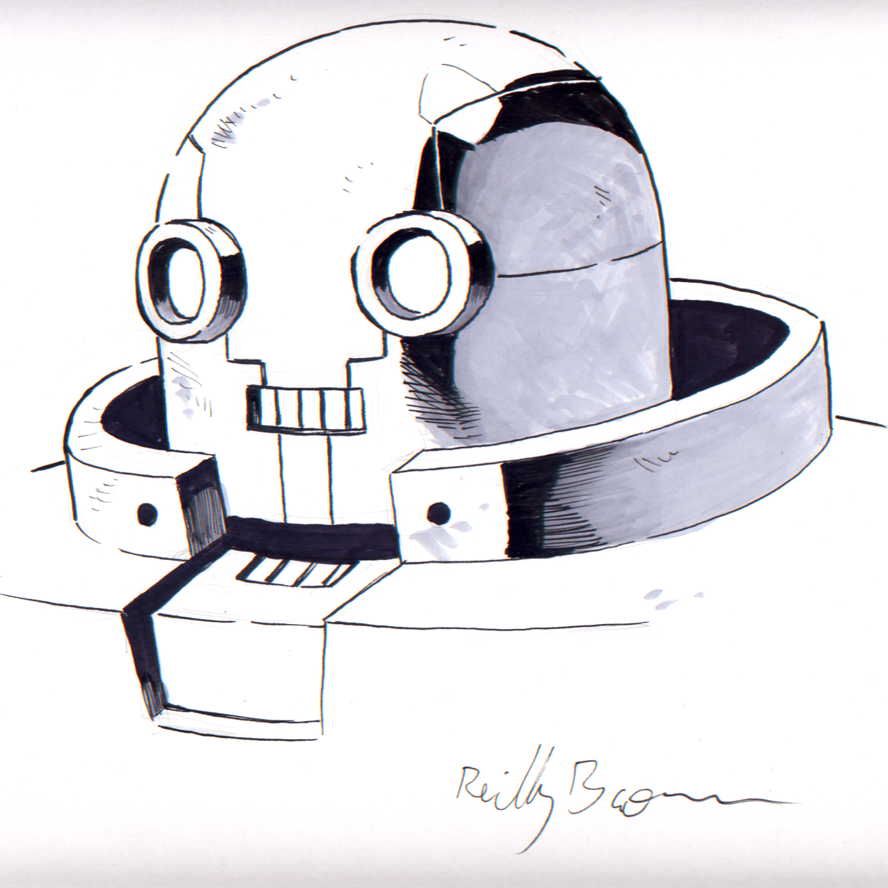 thedudevondoom :      Glam Rock Gorilla world-building week, Day 4: Amadeus!   Figured this was a good time to scan this great mugshot of Big Bot that  Reilly Brown (of  Power Play  and Marvel fame) did during SDCC. Thanks again, Reilly!     You're welcome, man!