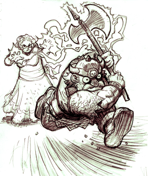 It's kind of different from my usual drawing style, but I totally love sketching this stuff from the studio's DDnD blog  http://dungeonsdragonsndrinking.tumblr.com/     dungeonsdragonsndrinking :      When Our Powers Combine…    Thanks to Arf Nad's reconnaissance, the band of adventurers catch a glimpse of a giant goblin officer patrolling the halls of the dungeon, and prepare to get the drop on him.    In preparation, Mellisa casts an Enchantment of the Storm on Killgore's axe, making it even thirstier for the blood of villains.  Today that thirst shall be quenched.