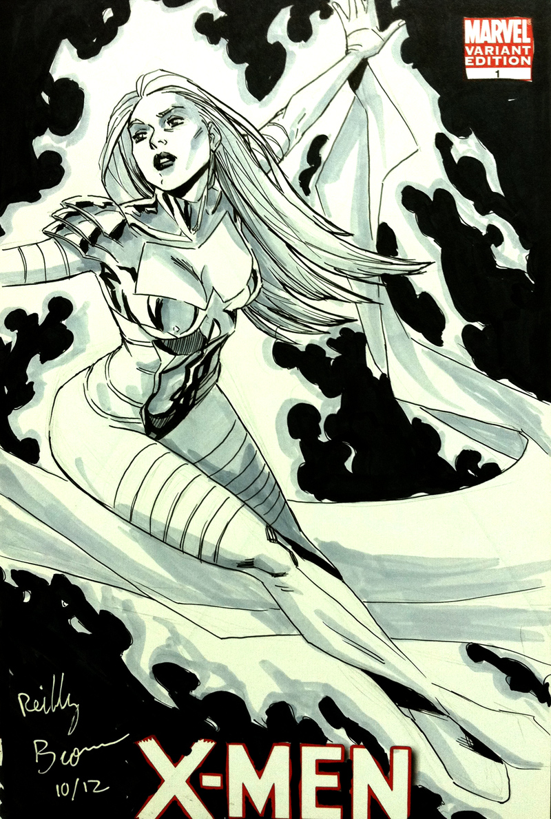 Here's another pic of White Queen in her Phoenix Five form.  When I first saw Olivier's design for this, I thought, yeah, that's going to be a popular con request….