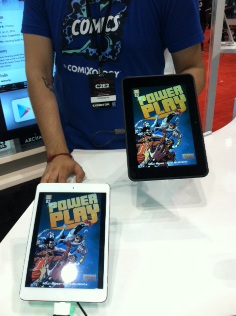 Power Play took over the Comixology booth at C2E2! It's awesome how supportive Comixology has been of Power Play and the other digital comics work I've done, and it's great to see them showcasing my work so frequently as a prime example of what they offer, and what artists can do with their tech. At the con they had six tablets out showing comics, and three of them prominently displayed my artwork (two with Power Play, one with AvX which I couldn't get in the same shot). I vow not to rest until I've taken over all six!