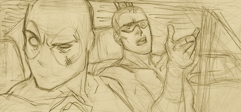 Another work in progress from the drawing table– Who's that in the car with Deadpool?  (Hint: it's Hawkeye)