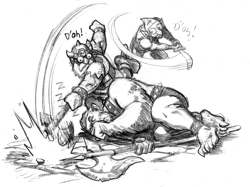 Here's another piece I drew for me and the studio's new Dungeons, Dragons and Drinking blog– dungeonsdragonsndrinking: Killgore's Shame Deep in a dungeon, the group was set upon by a bunch of goblins headed up by avicious,hairy and (probably smelly, and certainly drooling) bugbear. Dainty little Maxie the hobbit-boy used a spell to put him to sleep from a safe distance, and mighty Killgore strode up to finish him off with his great strength and powerful axe. He wound up for the killing blow and… missed completely.  Then a goblin snuck up and tried to take a shot at Killgore, and also missed. Then Maxie set the sleeping beast on fire. He still didn't wake up. So, Killgore, his pride slightly bruised from the first failed attempt, squared up for another chop. He planted his feet firmly on the ground, maybe took a couple of warm-up swings, took aim at the sleeping, slowly burning beast and… ….Missed again…. The goblin also took another attack and also missed completly. Not the best performance by our hero. Maybe he should rethink how manyrejuvenatingliquor shots he should take before entering a dungeon. Killgore, however, would point out that he DID eventually cut the bugbear.  When it finally woke up and realized it was on fire, it tried to escape, and Killgore threw his axe at it, lodging it deeply in the monster's flesh. But it didn't quite kill him, and now Killgore doesn't have an axe…