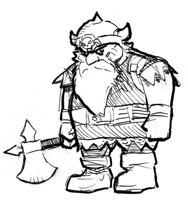 dungeonsdragonsndrinking :      I'm comic book artist Reilly Brown, you may have seen my work in comics such as Cable & Deadpool, Incredible Hercules, or Amazing Spider-Man.     My character is Killgore Von Chopstein. He is a fearless dwarf of honor who leaves no job unfinished and doesn't take crap from anyone.  Especially not goblins. Or wolves. And probably not ogres either, but that's yet to be proven.     If you want to see more of my artwork, you can check my own Tumblr page  here  and check out my creator-owned digital comic POWER PLAY  here.      Here's another sketch of my character Killgore from #DDnD. Dwarfs make it cool to be short.