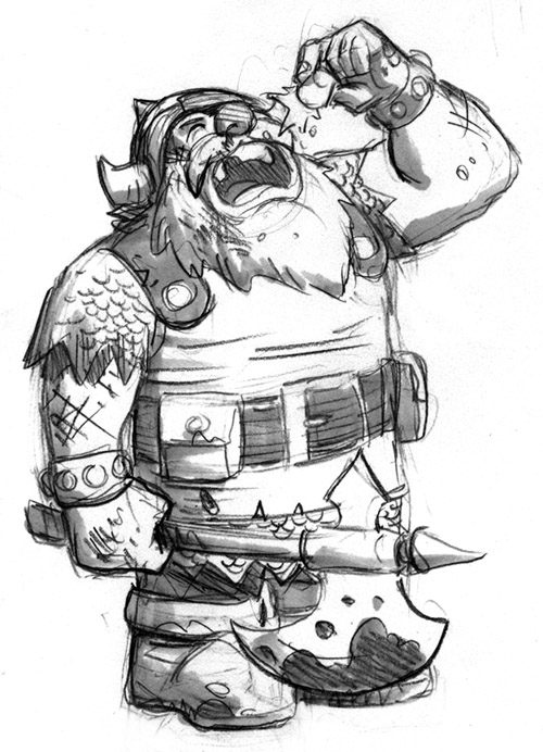 Me and the guys from the studio have started a new blog about our D&D game– first post is a drawing of my dwarf drinking the +8 Jack Daniels of Hit Point Rejuvenation!     dungeonsdragonsndrinking :      What happens when you get a bunch of overworked comic artists together at a Brooklyn bar to pretend they're elves, dwarfs and wizards?  You get our new blog, Dungeons, Dragons 'n Drinking!   This is a blog where us members of the comic art studios Hypothetical Island and Drawbridge can keep you up to date with our exciting, alcohol-fueled, medieval adventures, which we will be illustrating as we play.          Starting the game off is:    George O'Conno r, known for his work on his Olympians series    Ellen Lindne r, of The Strumpet and The Black Feather Falls    Robin Ha , the artist of Quilt Girl   And myself,  Reilly Brown , known for drawing comics like Cable & Deadpool, Spider-Man, and Power Play    We're headed up by our esteemed DM,  Stephen Betts , who has a killer English accent.      I'm sure the lineup will change from time to time, and we'll most likely have a guest artist or two along the way as well.    One of the most important parts of Dungeons, Dragons 'n Drinking is, in fact, the drinking.  In our game, if your hit points get low, you can take a shot for a chance to roll the dice and gain some life back.  The drawing above is my own character Killgore having a stiff drink after being set upon by a pack of hungry wolves in our first adventure, which he then proceeded to chop into bite-sized wolf-nuggets.     I'll let the other guys introduce their own characters, so come back often to see how our adventures develop!