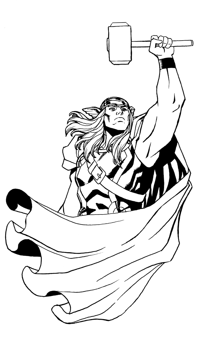 Check out the first blog post by Hypothetical Island's newest intern, Andrea– it's a Thor pic I drew. Andrea's pretty damn good herself, so you should check out her own art here– http://portfolios.sva.edu/andreakendrick hypotheticalisland: An unfortunate tattoo mishap leads one of our own, Reilly Brown, across the Nine Realms to repair the damage that could potentially end all human life as we know it! Actually, I think we'll survive. But his Uncle's arm will be all the better for this piece! An unfinished arm and hammer tattoo was begging for some flair. And who knows flair better than Thor? (Other than Loki of course…)