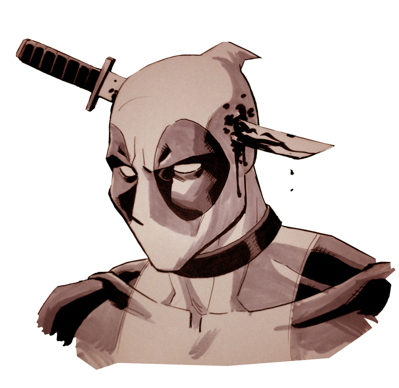Deadpool with a knife in his head.  You know he deserved it.
