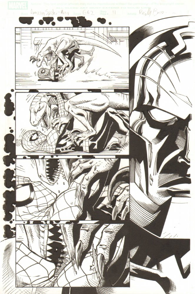 This is one of my favorite pages from Amazing Spider-Man 661.  I feel like I really nailed the ominous feeling of Psychoman controling people's minds.  Love that superhero melodrama!   This is one of my pages of original art for sale at Anthony's Comic Book Art–  http://www.anthonyscomicbookart.com/ArtistGalleryRoom.asp?ArtistId=1172