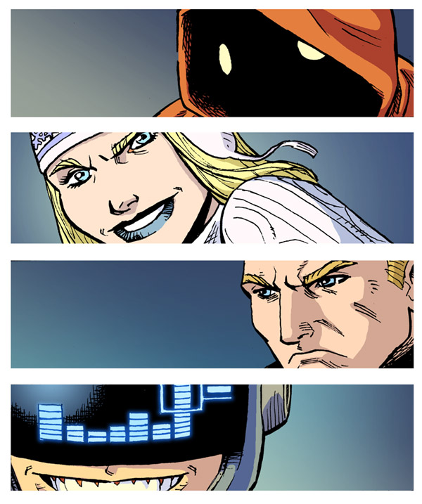Gowanus Pete, Ice Queen, West Side Flame and Tektronix from issue 3 of Power Play.  Get it here on Comixology–  http://t.co/x6jxU3kR