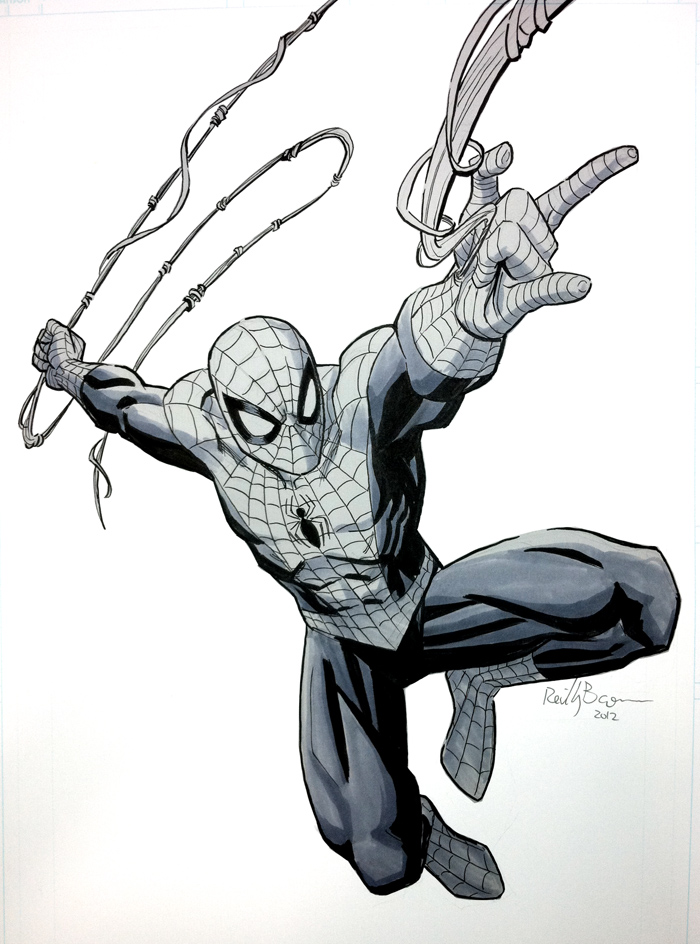 Here's a Spidey commish from a convention. SDCC I think? Anyway, it's based on the cover of Avenging Spider-Man #1, and the guy who commissioned it is going to get other artists to draw other characters from that cover. Sounds cool, I hope I get a chance to see it when it's done!