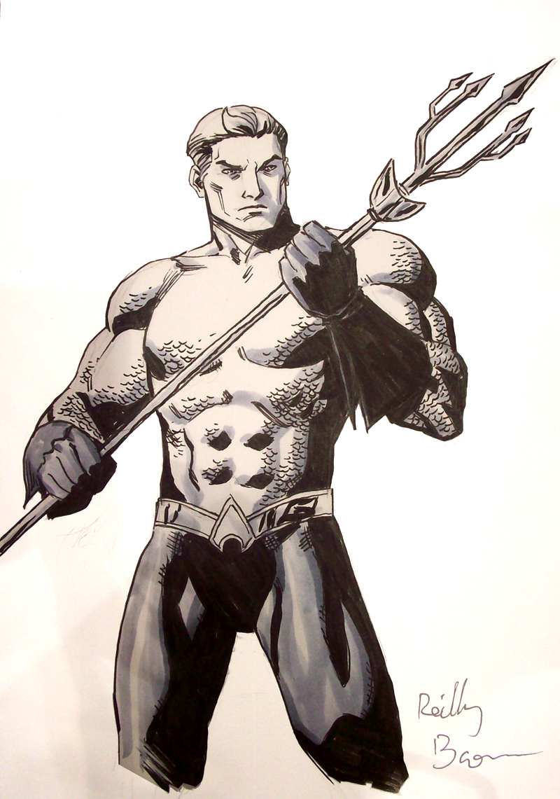 """Aquaman, King of the Sea! This is a commission I did a while ago of the JLA's most aquatic member. Next time I draw Aquaman I'm going to draw him surfing. I bet people wouldn't make fun of him as much if more people drew him surfing. Unless he doesn't know how to surf. How are you going to be the king of Atlantis and never know how to surf? I bet Namor can surf. Anyway, I'll also be doing commissions at the Baltimore Comic Con this weekend, where I'll be sharing a booth with other Brooklyn comics folks, Dean Haspiel, Seth Kushner, and Joe Infurnari http://man-size.livejournal.com/583221.html Also, while at Baltimore, come sit in on the """"Creating Comics the ComiXology Way"""" on Saturday from 1-2pm in room 302/303, where I'll be talking all about the creation process behind Power Play and AvX. http://baltimorecomiccon.com/about/programming/ Hope to see you there!"""