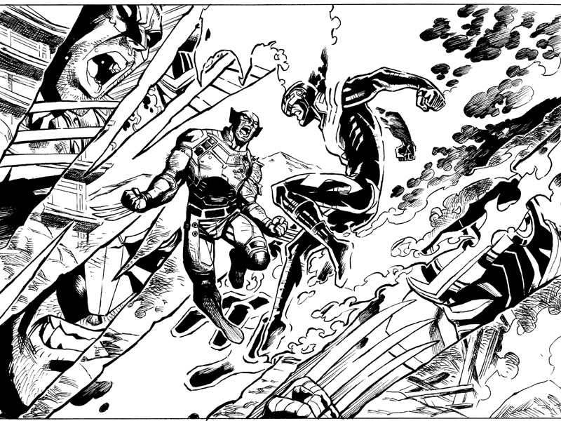 Here's the line work from one of my favorite panels from AvX Infinite #3. I've wanted to draw these two fighting since I was 11 years old!  If you haven't seen it yet, you can download the comic directly to your home computer and/or iPhone/pod/pad or Kindle or Android device here— http://www.comixology.com/Avengers-vs-X-Men-10-Infinite/digital-comic/ICO003802  How's that for instant gratification? The story is written by Mark Waid and Yves Bigerel, with art by me and Marte Gracia. This comic is done in a way made specifically for reading comics digitally, and it's cool to be able to experiment with a bunch of new storytelling techniques that aren't even possible in print.  Check it out and let me know what you think! If you like it, I do a similar thing in my creator-owned series Power Play, which is also on Comixology— http://www.comixology.com/Power-Play-0/digital-comic/12727
