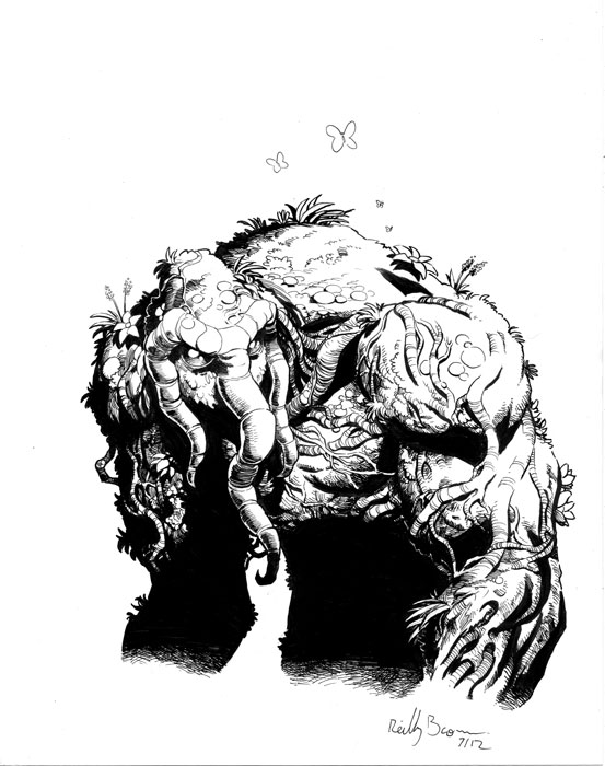 "Check out my Man-Thing. hypotheticalisland: Here's another commission done by artist Reilly Brown of Man-Thing. Reilly will be at the upcoming San Diego Comic-con and will sell copies of his book Sketches: The Art of Reilly Brown:Volume One. His booth number at the convention is ee06. They can also be purchased by e-mailing him at reillybrownsketches@yahoo.com with ""Sketchbook"" in the subject line and shipping and payment options can be worked out there."