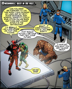 Some good old-fashioned Deadpool and Bob time-traveling fun. pawstoyourselfspacerat: Cable & Deadpool #46