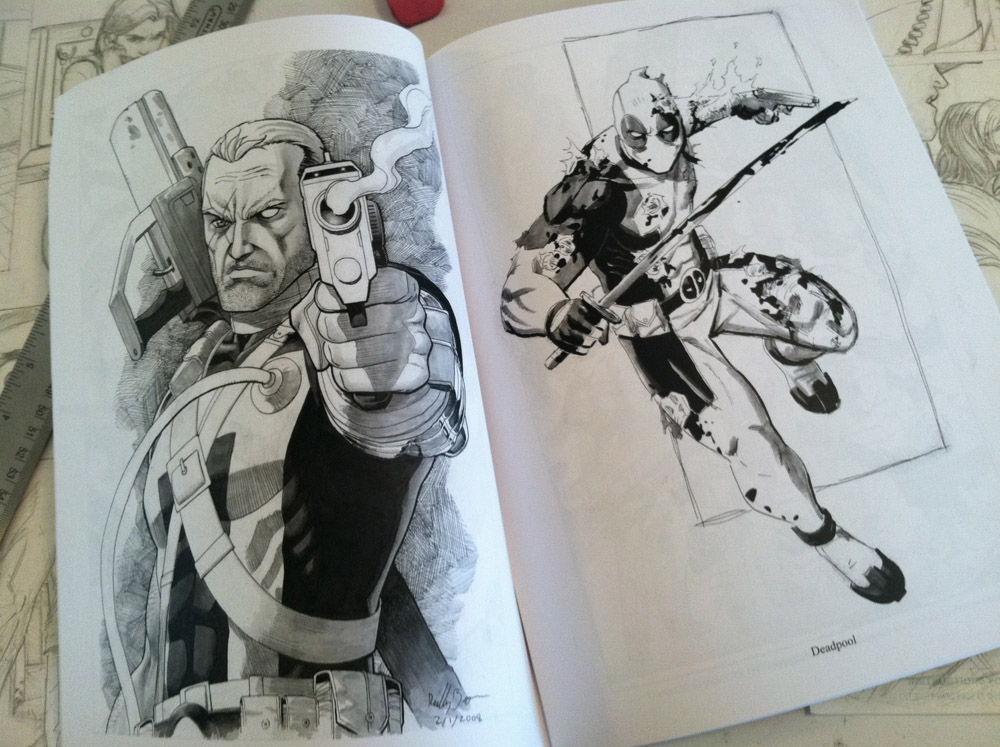 "A couple pages from my new con sketchbook SKETCHES.  You can see a real brief video of some of the other stuff in the book here–  https://twitter.com/Reilly_Brown/status/212589107375910912   If you're planning on attending San Diego Comic Con, Baltimore Comic Con, or NY Comic Con, look for me in Artist's Alley to pick one up!  It's 48 pages, black and white, 8.5x11 and costs $20. It'll have bunch of sketches and commissions, process stuff, character designs and finished work. Some of which you've seen before, and some of which you haven't.  A bunch of Power Play stuff, and a bunch of Marvel stuff and a whole lot of other stuff. All in all, it's a pretty good collection of my work, and I think you'll like it!  What's that? Not everyone's going to be at one of those comic conventions, but you still want a copy? No sweat! Just e-mail me at reillybrownsketches@yahoo.com with ""Sketchbook"" in the subject line and we'll figure out the payment and shipment information from there!  Also, if you're a retailer and are interested in carrying a few copies in your store, e-mail me and we can work something out."