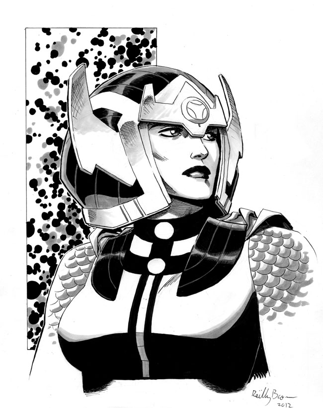 I really think the New Gods are the best of Jack Kirby's character designs, and Big Barda is among the best of those.  This is a commission I did of Barda recently for  http://thehappysorceress.tumblr.com/