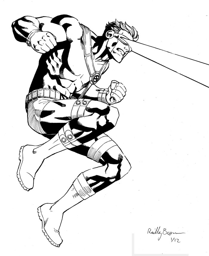 Another Cyclops commission, from the good old days when superheros wore their underparts on the OUTSIDE–  http://fav.me/d4qp767