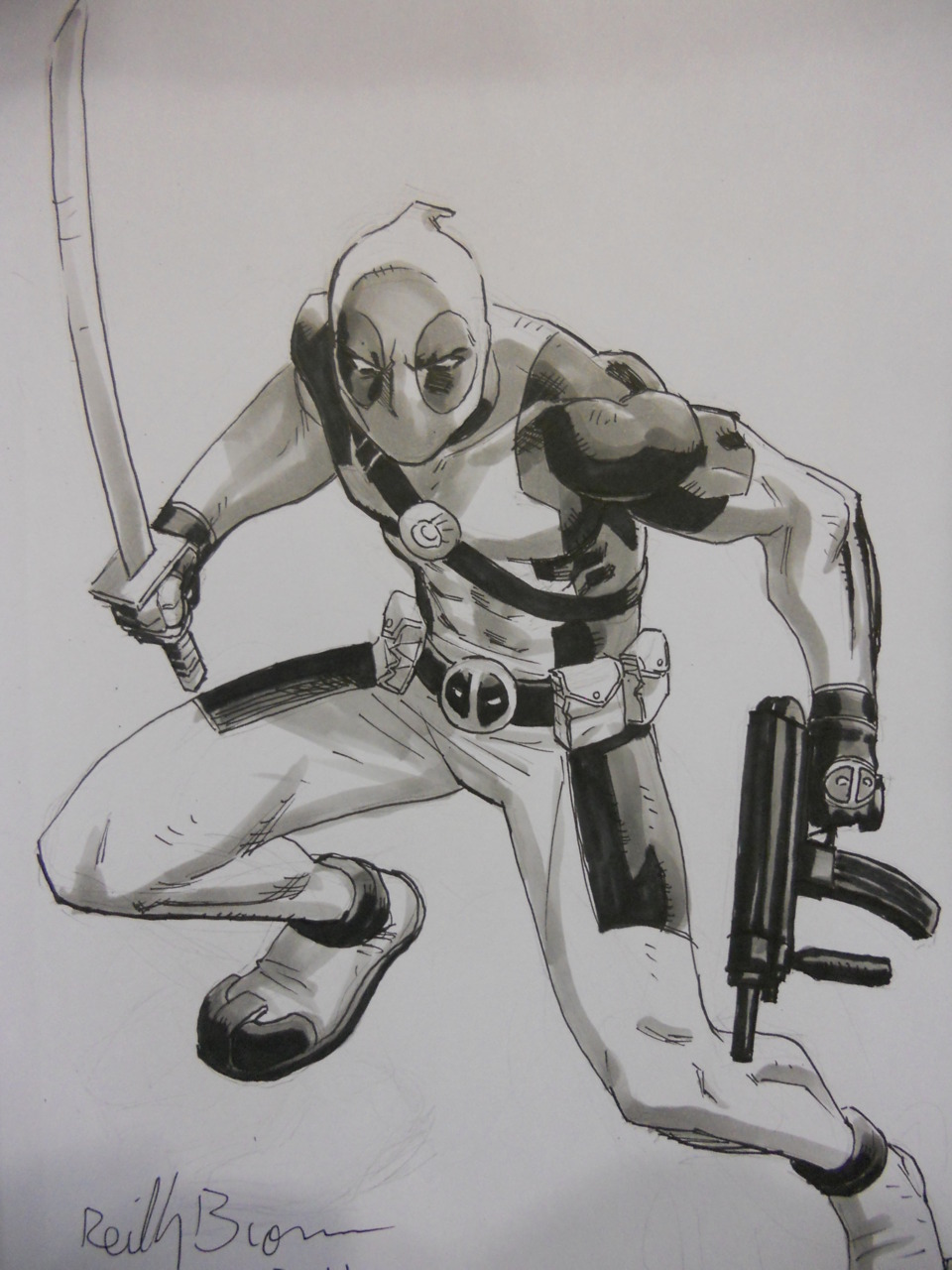 notgoingtohelp: Deadpool - Reilly Brown This is a sketch of Deadpool I got in my sketchbook at Baltimore Comic Con, from Reilly Brown. He was fun to talk to, and as you can see his skills are just Uncanny. I'm looking forward to his online comic Power Play that you can get a free preview of Here and check out their tumblr Here.  Also check out Reilly's DeviantArt for more fantastically drawn goodness by him! Reilly Brown at Deviant Art