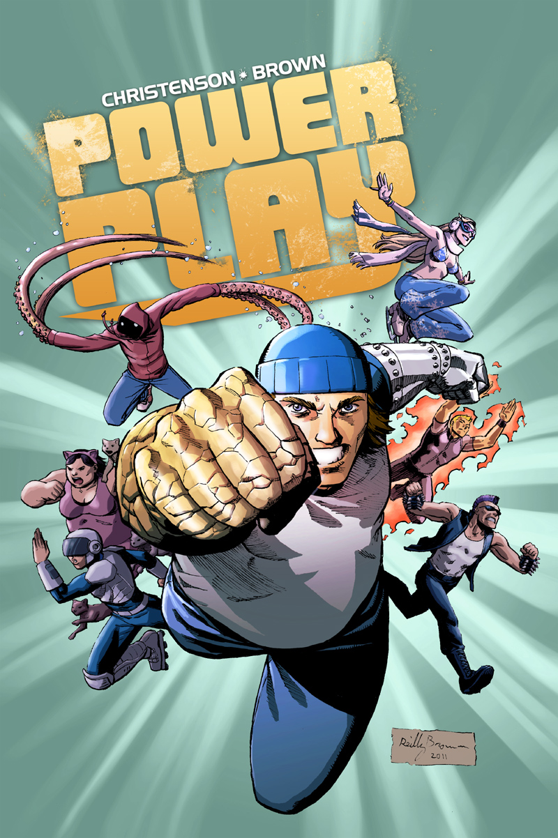 Power Play is the creator-owned book I've been working on for the past few months with my writing partner, Kurt Christenson, and I'm excited to say that a free preview will be going live on Comixology on Wednesday, 7/20/11. Check it out here–  http://www.comixology.com/  Or through Comixology's super-awesome app on whatever digital device you prefer (iPod, Android, etc).  Everyone's been talking about how the future of comics is digital, but we're actually taking the plunge, making a comic that is primarily designed to be read on a digital platform.   We're playing around with some storytelling techniques that simply aren't possible in the print medium, and just giving it a shot to see what kind of comics are possible in the 21st century.     Our story revolves around Mac, a college student in NYC who suddenly finds himself with superpowers.  Does he try to fight crime? Maybe try to take over the world? Maybe put his underwear on the outside just for fun? NO! He he joins the Power Play Games, a full contact, extreme sports league with other people with strange powers and remarkable abilities! This preview will introduce you to Mac, The Ice Queen, Gowanus Pete and others, and take you on a quick tour of the world of Power Play.   So, please keep an eye out on Wednesday, and help spread the word!