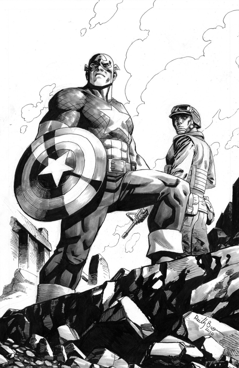 This is a piece I did last year. The brother of a fallen US Marine wrote into Marvel to tell them how much he appreciated the current Captain America series, and that he was going to save his copies for his brother's son for when he was old enough to read, so that he could have an idea of what his father was like, and why he was a member of the armed forces. Marvel gave me the man's information and I did this piece for his nephew. Happy Memorial Day, and thanks to all the brave men and women who keep us safe both overseas and here at home. We appreciate it more than it's possible to express.