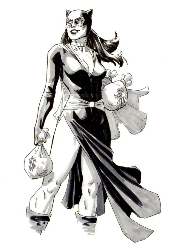 A commission of Catwoman in her classic costume.