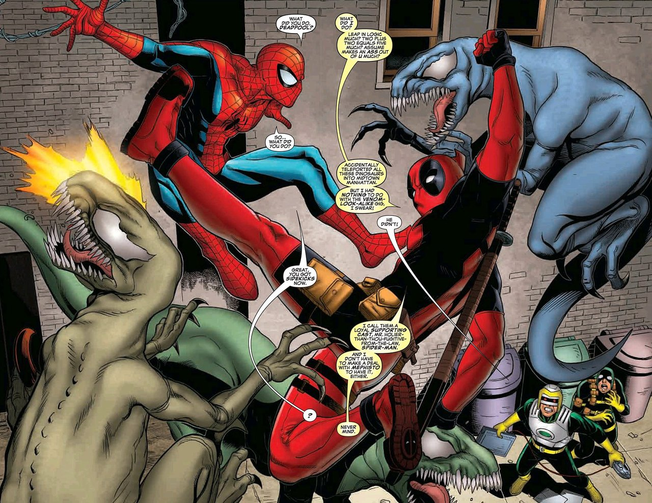 agentfenris: timetravelandrocketpoweredapes: (via zatanna) Oooo the Mephisto deal, sick third degree burn on Spidey! From Cable & Deadpool #50 written and drawn by Reilly Brown of TenTonStudios. (My BFF and artist for my new digital comic series) Pssst…buy my Deadpool collection here!