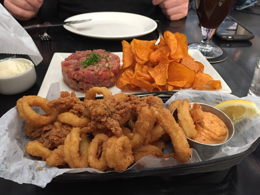 Tuna Tartare and Fried Calamari