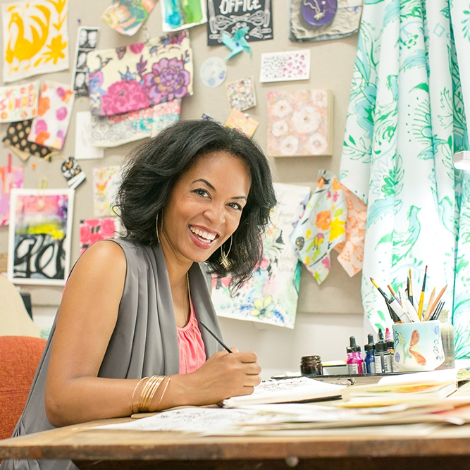 JEANETTA GONZALES   JEANETTA GONZALES   Los Angeles-based designer, artist and coach, Jeanetta Gonzales, spreads joy through a variety of creative means. Her multidisciplinary studio specializes in surface pattern design, lettering and graphic design. Her art can be found in retailers such as Home Goods, Minted.com and Wayfair.com. Jeanetta can also be found teaching at local art colleges, giving art demos and creative talks online and providing guidance, accountability and support to artists bringing out their true self expression. She has been featured on Domino.com, TheJungalow.com, Apartment Therapy, Flow Magazine and Artists & Makers Magazine.