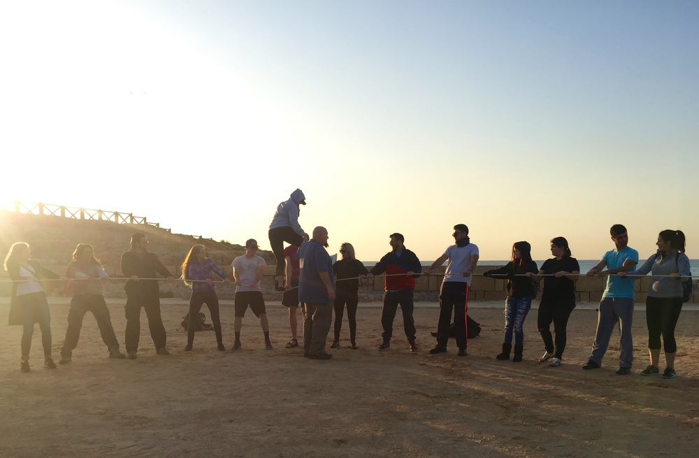 We did a trust activity in Caesarea to bring us closer and help us bond with our new travel buddies!